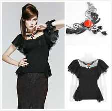 Punk Rave T-391 Women's Black Gothic  Short Sleeve Blouse Shirt Lace Top