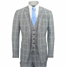 Mens 3 Piece Suit Vintage Grey Prince of Wales Check Tailored Fit Smart Formal
