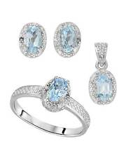 2.25 CTW Oval Sky Blue Topaz Sterling Silver Stud Ladies Jewelry set