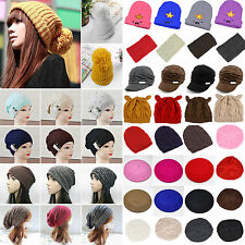 Chic Womens Knitted Crochet Beanie Headband Warm Hats Ladies Winter Ski Caps