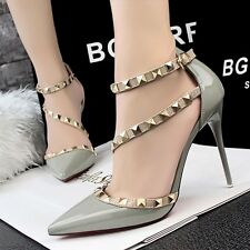 Size 4-8 Rivet Strappy Party Pumps High Heels Stilettos Pointed Toe Womens Shoes
