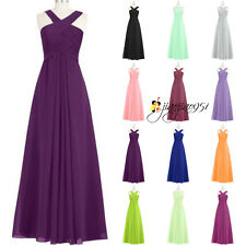 Stock Long Formal Halter Wedding Bridesmaid Dresses Evening Party Prom Gown 6-18
