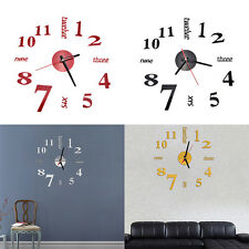 Modern Art DIY Large Wall Clock 3D Sticker Design Home Office Room Decor Hot