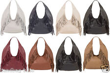 Handbag Bliss Soft Italian Leather Tassel Slouch Handbag Shoulder Bag (New!)