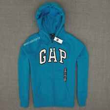 GAP NEW WOMEN ARCH LOGO FULL-ZIP HOODIE,NWT,WARM AND COZY, SURF PIPE BLUE