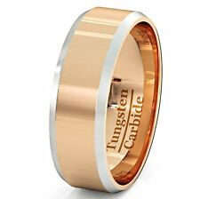 Mens Wedding Bands Two Toned Rose Gold Tungsten Ring Flat Top & Beveled Edges