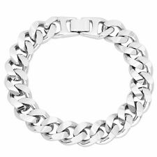 Mens 14k White Gold Silver Plated/Layered/Plated Cuban Link Curb Bracelet