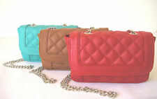 Quilted clutch chain strap crossbody faux leather messenger shoulder bag purse