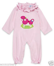 "AURORA ROYAL BABY GIRLS PINK ""ROCKING POODLE""APPLIQUE COTTON BABYGROW"