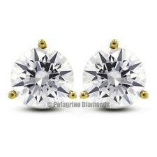2.17ctw G-SI2 VG Round Natural Diamonds 14KY Gold 3-Prong Martini Earrings 6.5mm