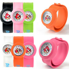 Children Cartoon Angry Birds Snap Slap On Silicone Band Quartz Wrist Watch Gift