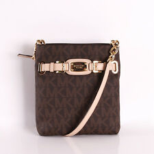 New MICHAEL KORS MK SIGNATURE PVC HAMILTON BROWN LARGE CROSSBODY BAG NWT