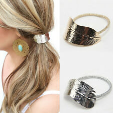 Lady Holder Leaf Headband Women Ponytail Elastic Accessories 2Pcs Hair Band Rope
