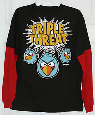 ~ANGRY BIRDS~Boy's Black/Red Long Sleeve T-Shirt~Size L~NWT