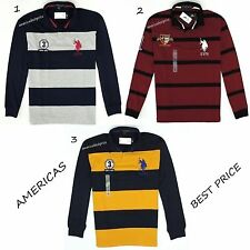 US POLO ASSN NEW MENS STRIPED POLO RUGBY SHIRT,NWT,NAVY BLUE & RED,LONG SLEEVE,