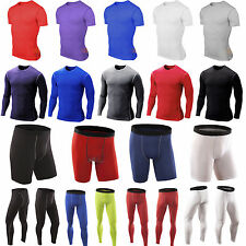Mens Compression Armour Baselayer Top Thermal Sports Tshirt Shorts Long Pant NEW