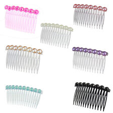 Lady Imitation Pearl Rhinestone Decor 14 Teeth Hair Clip Hairdressing Comb 2 PCS