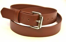 "GENUINE LEATHER PLAIN BROWN BELT 1.25"" [30MM] *USA MADE* WITH ROLLER BUCKLE"