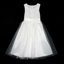 Summer Girl Kid Baby Princess Lace Bow Party Wedding White Tulle Tutu Dresses