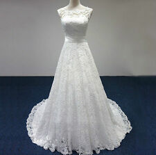 New ivory White Lace Wedding Dress Bridal Gown with Sash size 6 8 10 12 14 16