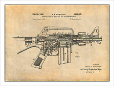 AR-15 Assault Rifle M16 Patent Print Art Drawing Poster