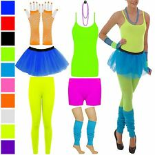WOMENS GIRLS TUTU NEON FANCY DRESS HOT PANT SKIRT VEST TOP GLOVE BEAD LEG WARMER