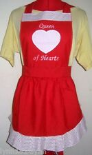 "LADIES ""QUEEN OF HEARTS"" COSTUME APRON Black/White or Red Made to order"