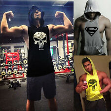 Athletic Men Punisher Gym Bodybuilding Hoodie Tank Top Muscle Hooded Shirts