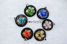 Wholesale lots 12Pcs Round Flower 3D Lampwork Glass Bead Pendants Fit Necklace
