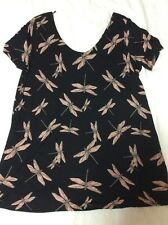 Next Dragonfly Top In Soft Stretch Jersey Tie Back Detail Black Size 10