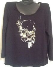 Halloween Shirt Lane Bryant Black & Gold Zombie Skull Goth Steelers Embellished