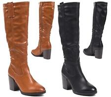 LADIES FAUX LEATHER KNEE BLOCK HEEL LONG CALF WOMENS SHOES BOOTS SIZE 3-8