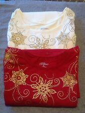 Liz and Me Catherines Ivory Gold Embellished Snowflake Womans Holiday Top Shirt