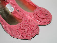 Gap Kids NWT Girl's 12 13 2 Pink Coral Lace Ballet Flats w/ Rosette