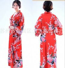 Black White Red Women's Silk Long Style Kimono Robe Gown Nightrobe SZ S-3XL