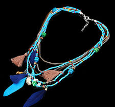 Jewelry Chain Pendants Women Feather Statement Necklaces Beads Collares Gifts