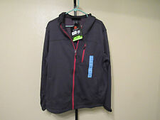NWT Free Country Men's Marled Tech Fleece Hooded Full Zip Jacket-Black-Lg-$80