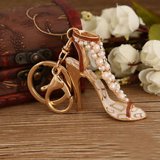 New Enamel Women Handbag Keychain Crystal Golden High Heeled Shoes Key Ring