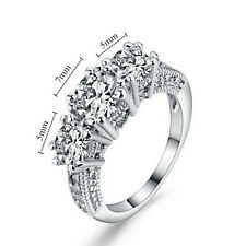 Size 6-9 White Sapphire Silver Wedding Band Ring 10KT Filled Jewelry Beautiful