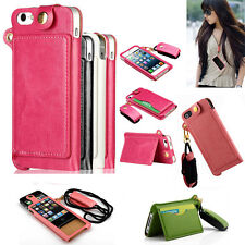 Wrist Neck Strap Lanyard PU Leather Card Slot Stand Case CoverFor iPhone SE 6s