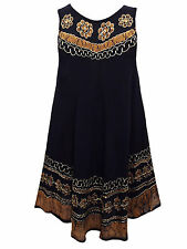 Womens plus size 16 18 20 DRESS black crinkle viscose batik sundress sleeveless