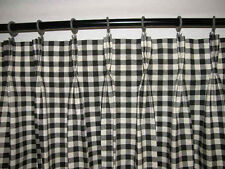 French Country Drapery Panel Pair Curtains Cotton Pinch Pleated Black Check