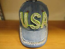 Studded Crystal Rhinestone USA Denim Adjustable Baseball Cap Tennis Hat