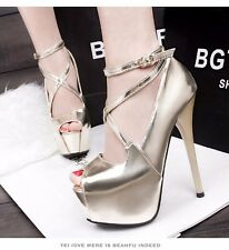 Size 4-8 Womens Shoes Open Toe High Heels Stilettos Strappy Sexy Clubwear Pumps