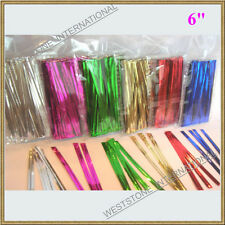 "500 pcs 6"" Metallic Twist tie for Cello Candy Bag"