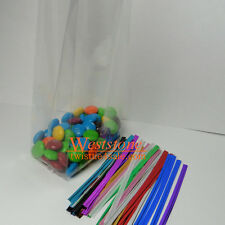 100pcs 2 1/2 X 3/4 X 6 1/2 Clear Gusseted Cello Bags with Twist Ties