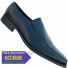 MENS SAVILE ROW VICTOR SLIP ON BLACK LEATHER   SHOES SIZE
