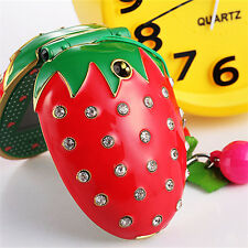 Fashion Strawberry Style Cute Mini Child's Flip Mobile Cell phone Xmas Gift