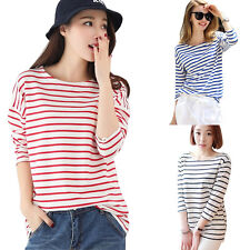 Womens Misses Short Sleeve Loose Striped T Shirts Casual Shirts Tee Blouse Tops