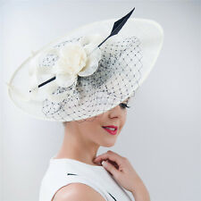 Women Large Feather Fascinator Hat Headband Hairband Church Kentucky Derby